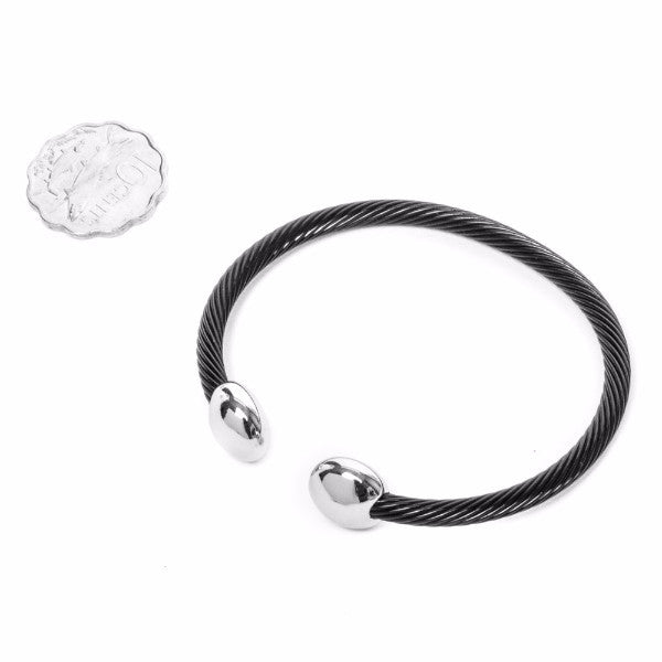 Silver/Black Stainless Steel Bracelet