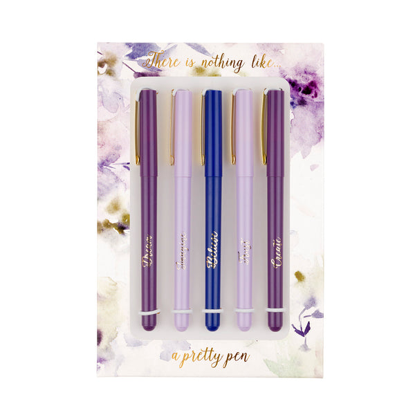 Purple Flowers Pen Set