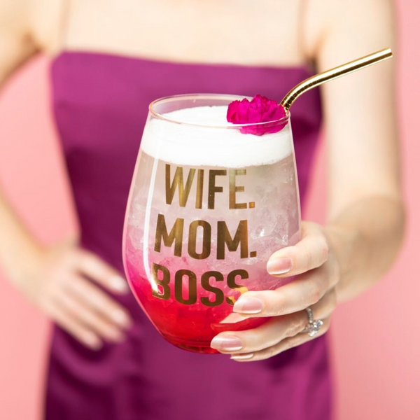 Wife Mom Boss Stemless Wine Glass