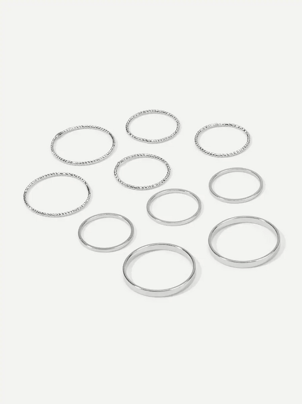 Silver 10pc Ring Set