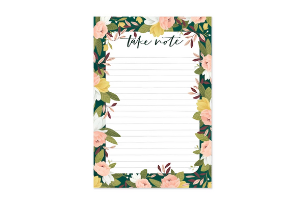 Floral Take Notes Notepad