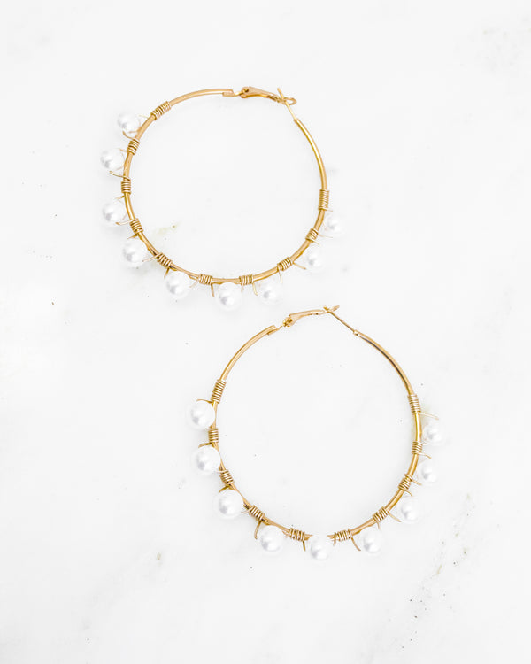 Sydney Pearl Hoop Earrings