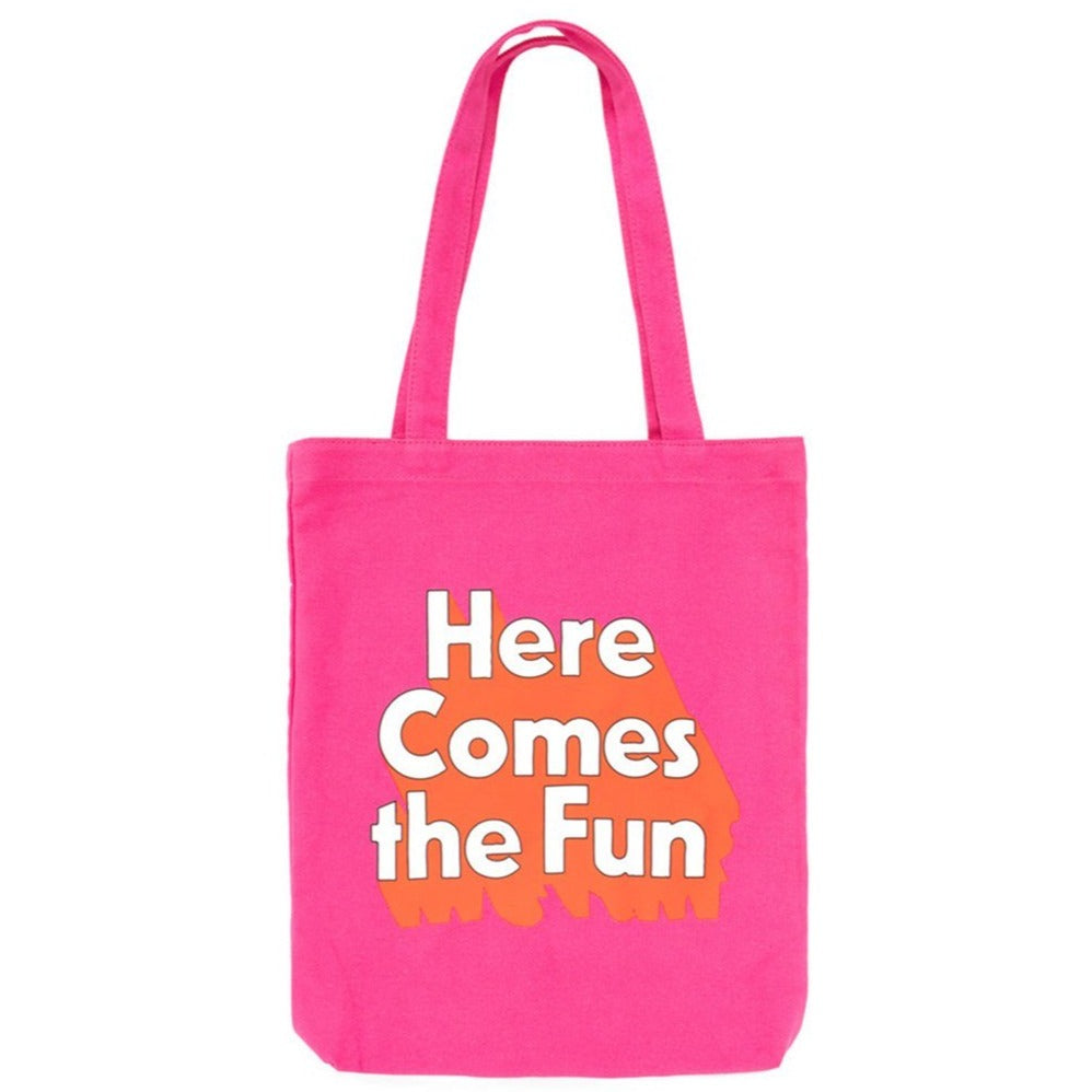 here comes the fun canvas tote