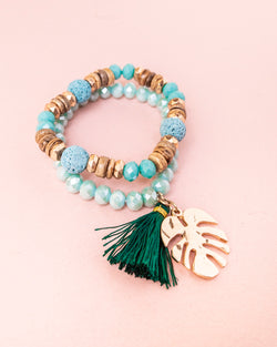 Monstera/Semi Precious Stone Bracelet Set