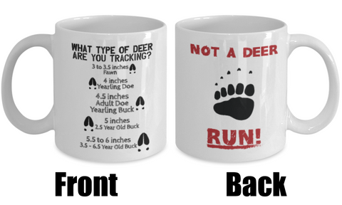 funny deer hunting coffee mug front and back red