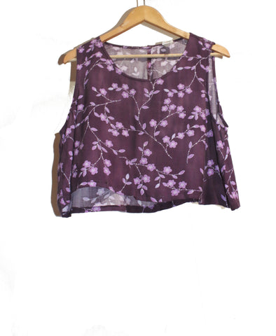 Purple Floral Crop Top