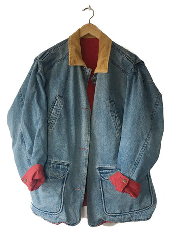 Denim Parka Jacket - L