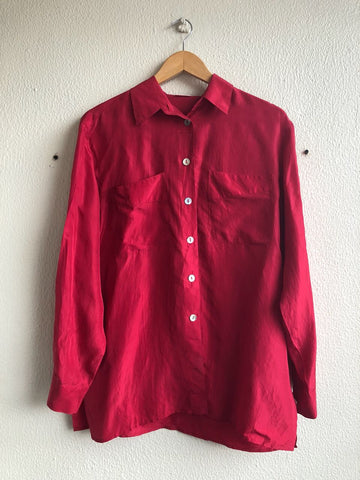 Cerise Silk Shirt - L