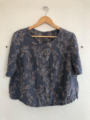 Crop Silk Blossom Blouse - S