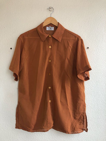 Burnt Orange Sheer Blouse - L