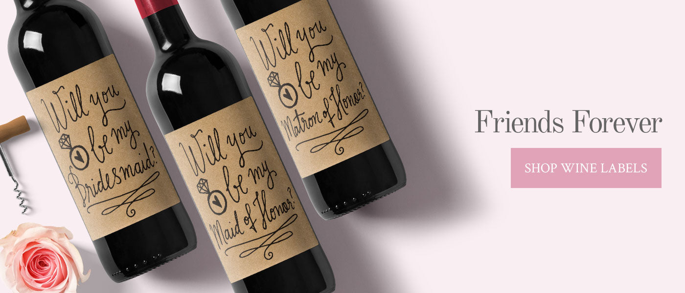 Wine Bottle Proposal Labels - Wedding Decorations by Kaspi Party
