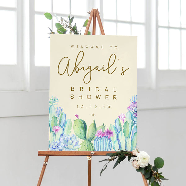 Bridal Shower Welcome Sign - Cactus and Succulents