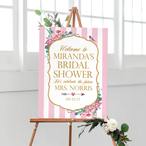 Bridal Shower Welcome Sign - Bird Garden
