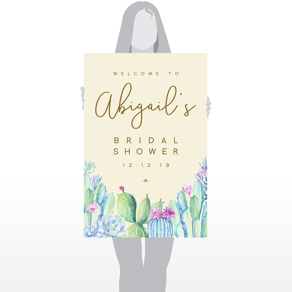 Bridal Shower Welcome Sign - Cactus and Succulents - Size 24x36