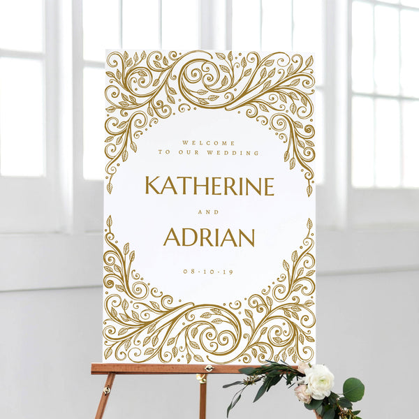 Wedding Welcome Sign Brocade
