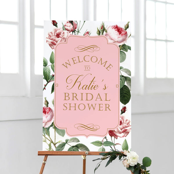 Bridal Shower Welcome Sign - Blush Redoute Roses