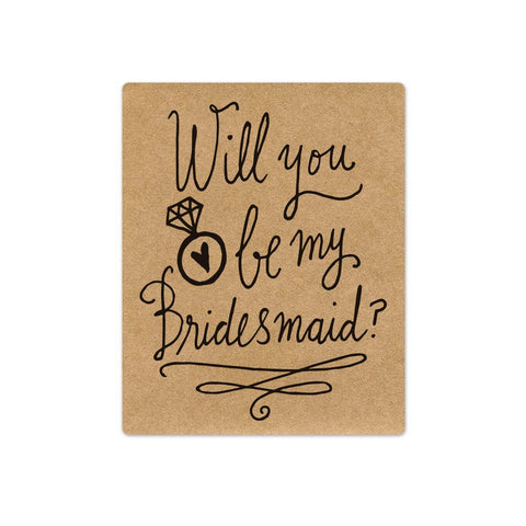 Bridesmaid Proposal Wine Labels - Kraft