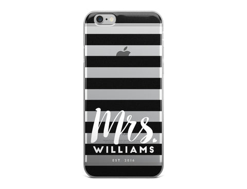 Mrs. Last Name iPhone Case - Black and White