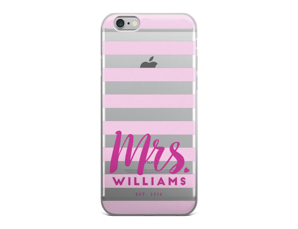 Wedding iPhone Case -  Pink Stripes iPhone Case