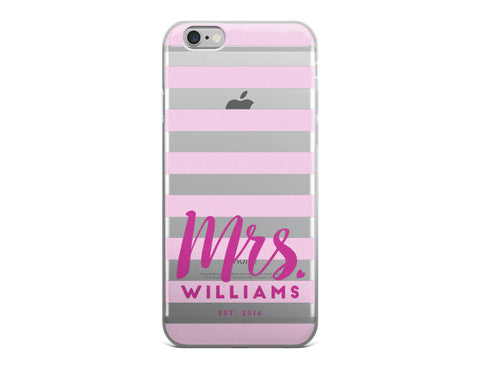 Mrs. Last Name iPhone Case - Stripes iPhone Case - Pink