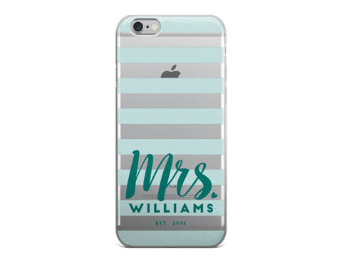 Mrs. Last Name iPhone Case - Teal