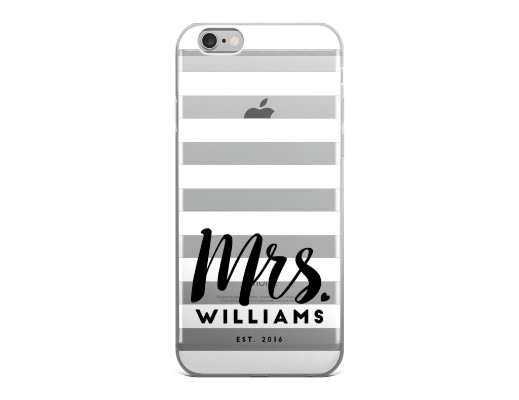 Wedding iPhone Case - White and Black Stripes iPhone Case