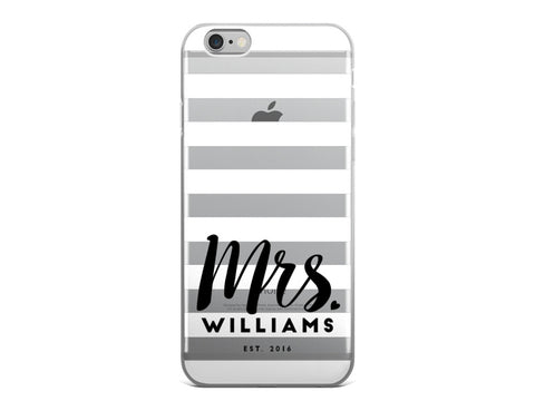 Mrs. Last Name iPhone Case - White and Black