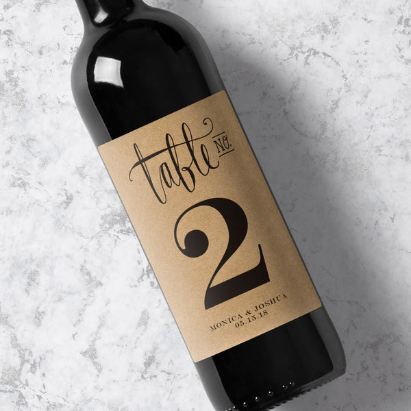 Wine Bottle Table Number Modern Calligraphy - Kraft