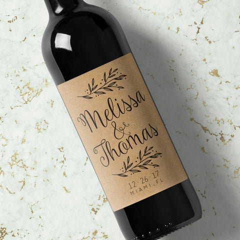 Wedding Wine Labels - Kraft