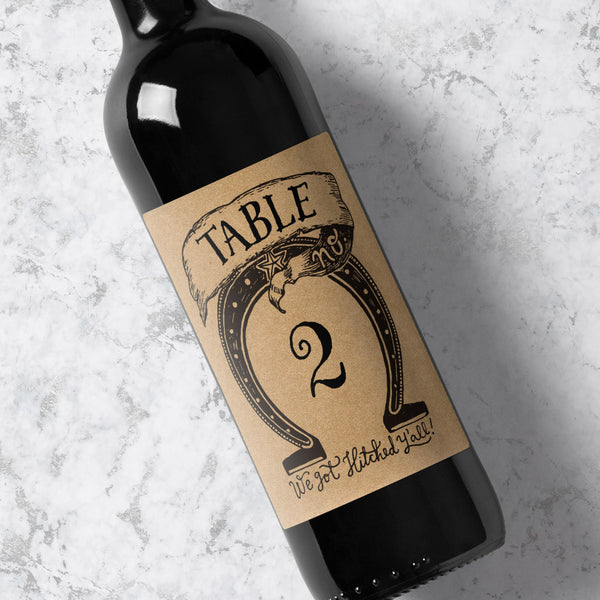 Wine Bottle Table Number Horseshoe - Kraft