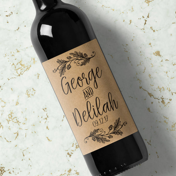 Wedding Wine Labels Acorn Wreath - Kraft