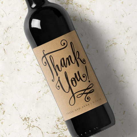 Custom Wine Labels - Thank You Swirly - Kraft