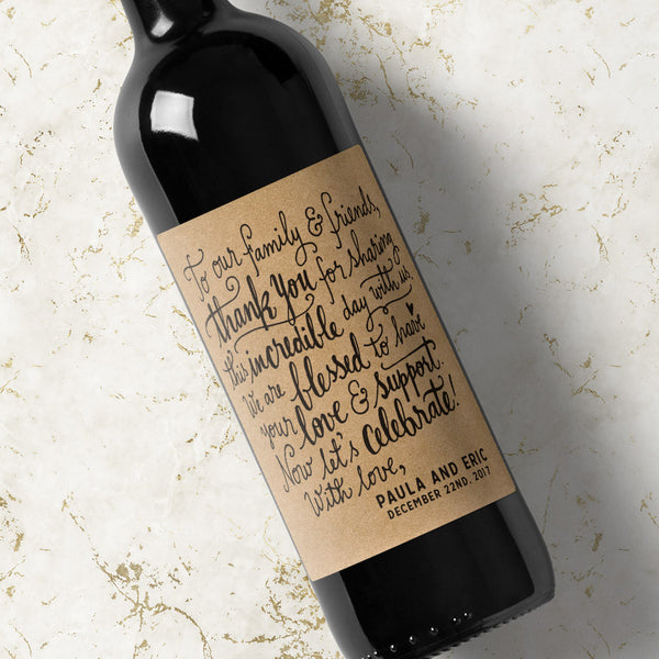 Wedding Wine Label Blessed - Kraft