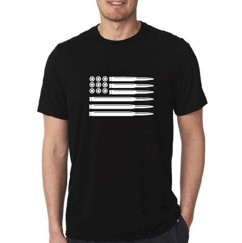 American Flag Bullets - Short Sleeve Mens Black T-shirt