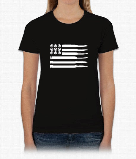 American Flag Bullets - Short Sleeve Womans Black T-shirt