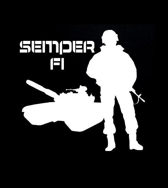Marines Semper Fi Tank and Soldier Vinyl Decal