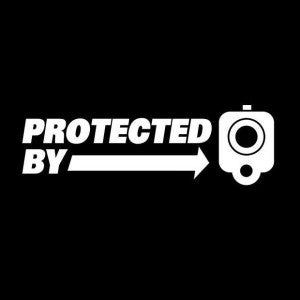 Protected by guns Vinyl Decal