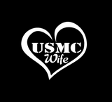 USMC Wife Heart Vinyl Decal