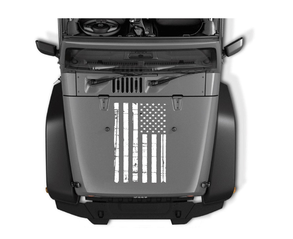 Jeep Hood Weathered Flag Vinyl Decal