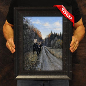 Backroad Encounter (oil on hardboard)