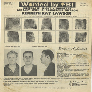"""Kenneth Ray Lawson"" by Mike Giant - Original Ink Illustration w Vintage Mugshot - 18 x 24"