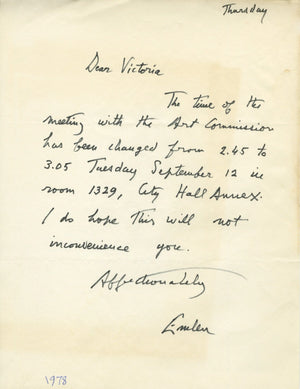 Emlen Etting - Signed, Hand-Written Letter (ALS) - 1978