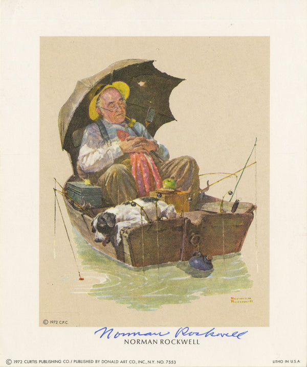 "Norman Rockwell - ""Gone Fishing"" - Signed Mini Print - 5 x 6"""