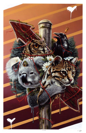 "3rd Version ""Family Is Not Blood"" - Hand-Embellished Unique Print, #2/11 - 11 x 17"""