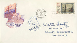 "Walter Lanz - ""Woody Woodpecker"" - Signed First Day Cover w/ Sketch"