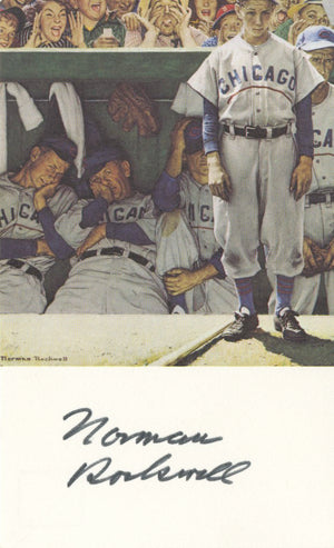 "Norman Rockwell - ""The Dugout"" - Signed Postcard"