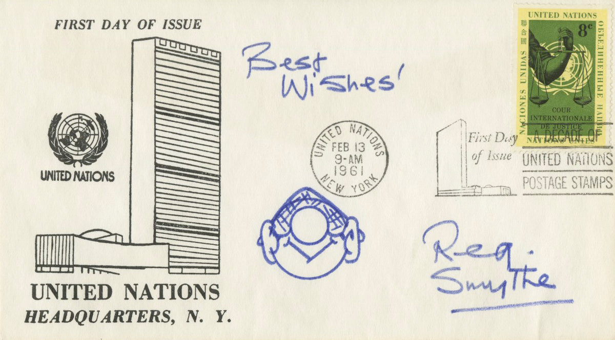"Reg Smythe - ""Andy Capp"" - Signed First Day Cover w/ Sketch"