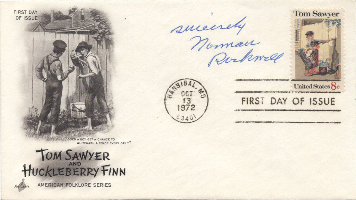 "Norman Rockwell - ""Tom Sawyer"" Signed First Day Cover - 1972"