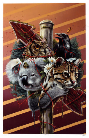 "3rd Version ""Family Is Not Blood"" - Hand-Embellished Unique Print, #4/11 - 11 x 17"""