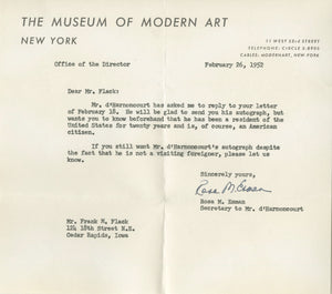 René d'Harnoncourt - Museum of Modern Art - Authentic Autograph, 1952
